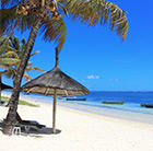 A view of a white beach, palm tree and thatch umbrella in Mauritius, which can be visited via a cheap flight with Flight Centre.